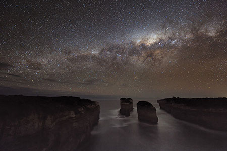 APOD 2010 August 23 - A Milky Way Shadow at Loch Ard Gorge